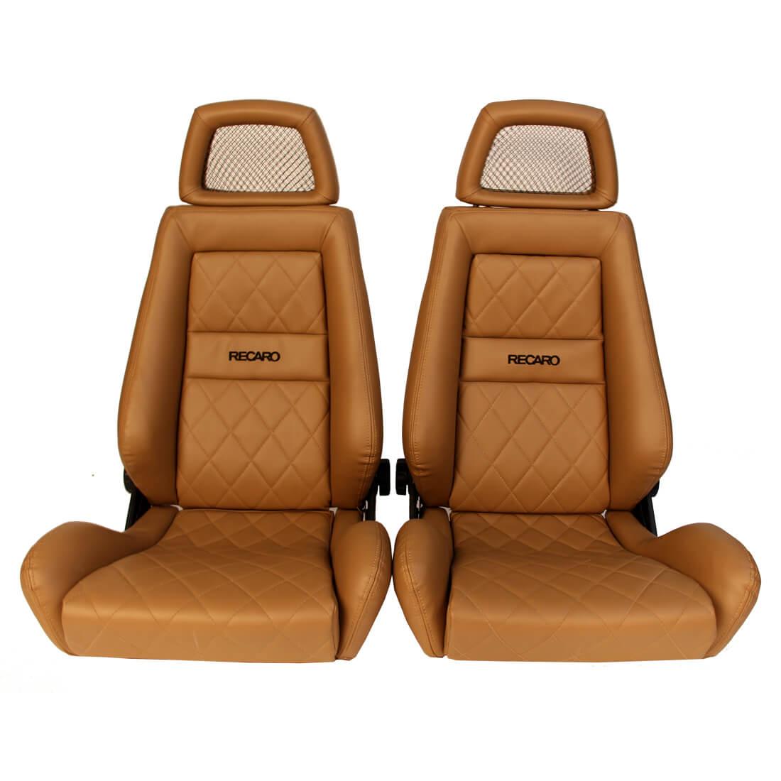 2 Used Jdm Recaro Lx Net Headrest Tan Synthetic Leather Seats Racing Honda Porsche Auto Cars Mck