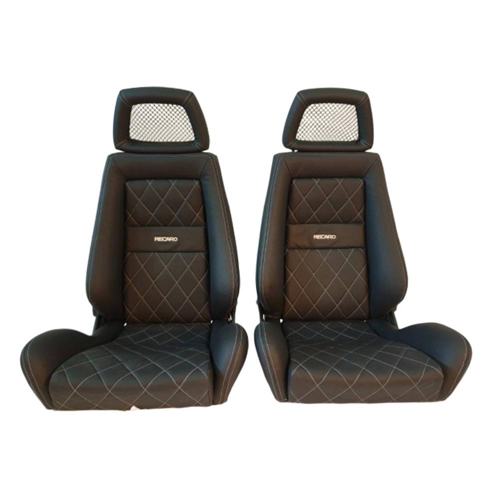 2 Used Authentic Recaro Lx Leather Net Headrest Seats Racing Honda Porsche Auto Cars Mck
